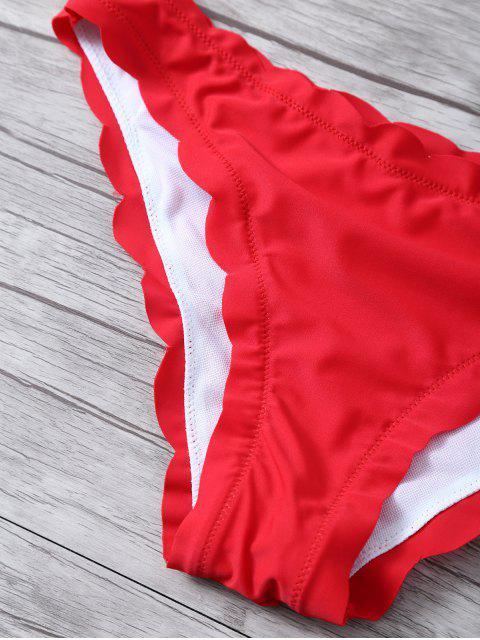 chic Scalloped Bandeau Bikini - RED S Mobile