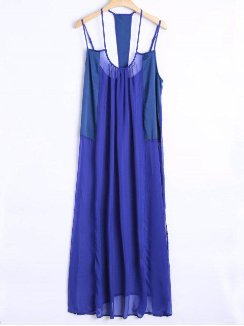 affordable Cami Loose High Slit Dress - BLUE S Mobile