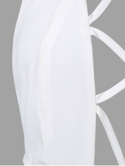 unique Backless Cut Out Bodycon Dress - WHITE L Mobile