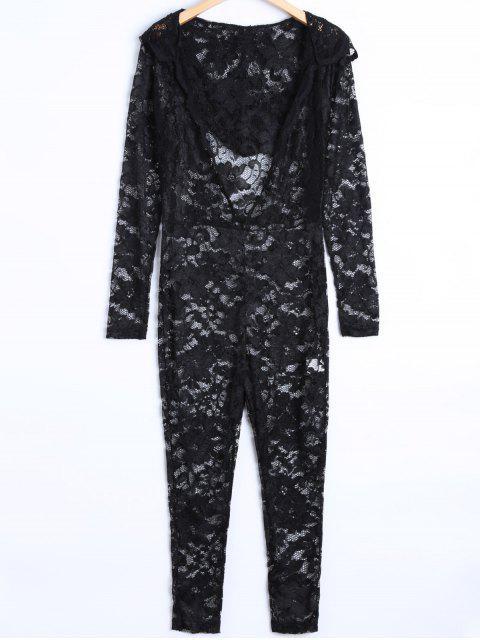 online See-Through Jumpsuit - BLACK L Mobile