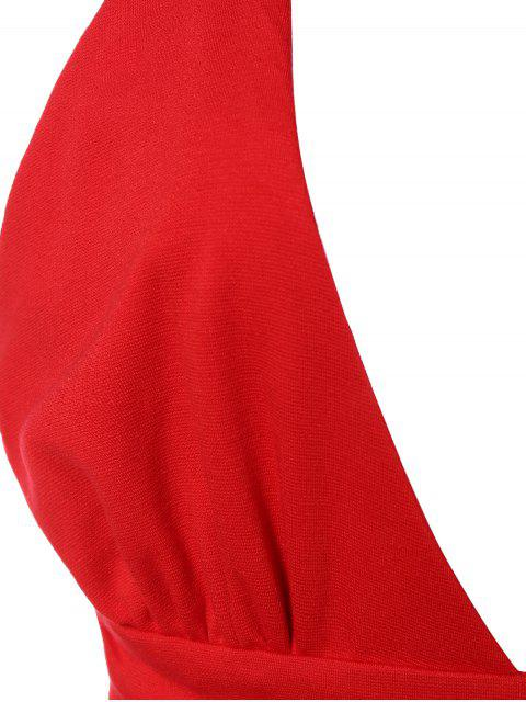 sale Asymmetric Plunging Neck Bodycon Party Dress - RED S Mobile