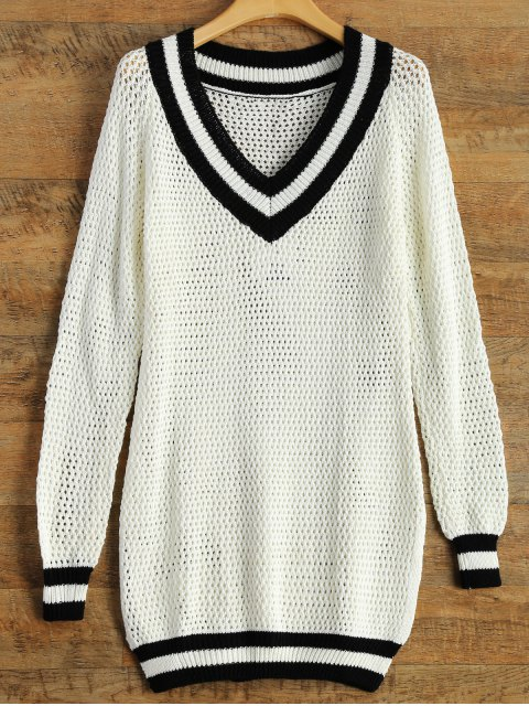 chic V Neck Furcal Sweater - WHITE L Mobile
