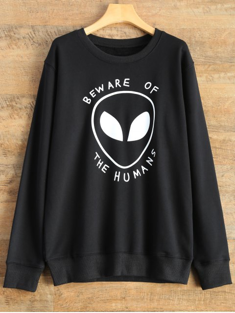 ladies Alien Letter Sweatshirt - BLACK S Mobile