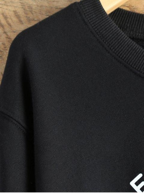 women Alien Letter Sweatshirt - BLACK L Mobile