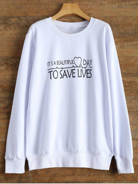 outfit Casual Letter Sweatshirt - WHITE L Mobile