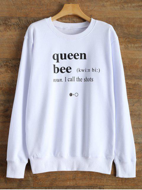 affordable Fitting Letter Sweatshirt - WHITE M Mobile
