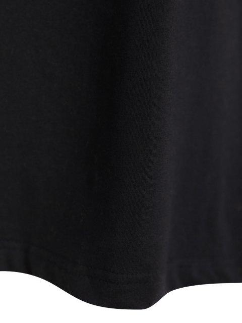 Dentelle Spliced T-shirt - Noir 2XL Mobile