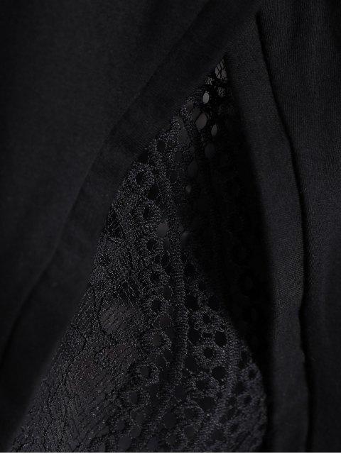 women Lace Spliced T-Shirt - BLACK S Mobile