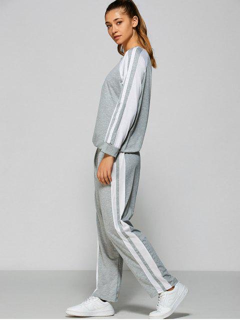 latest Pants and Raglan Sleeves Striped Sweatshirt -   Mobile