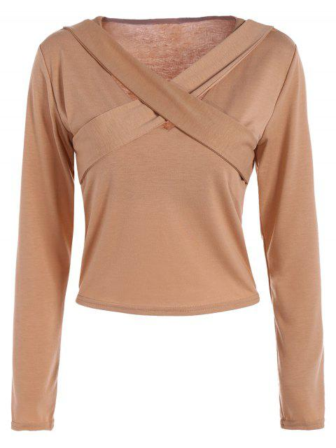 women Criss-Cross Cropped T-Shirt - KHAKI L Mobile