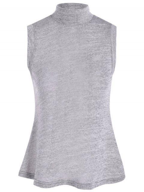 latest High Collar Slit Back Sleeveless Sweater - GRAY L Mobile