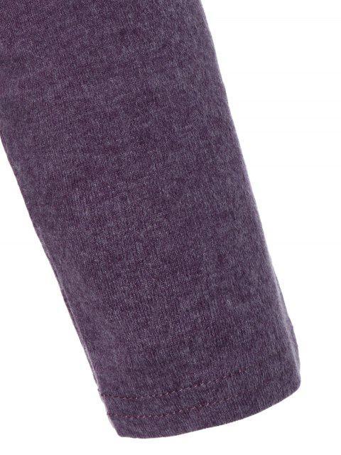 Sequined Pocket Slit T-Shirt - Pourpre M Mobile