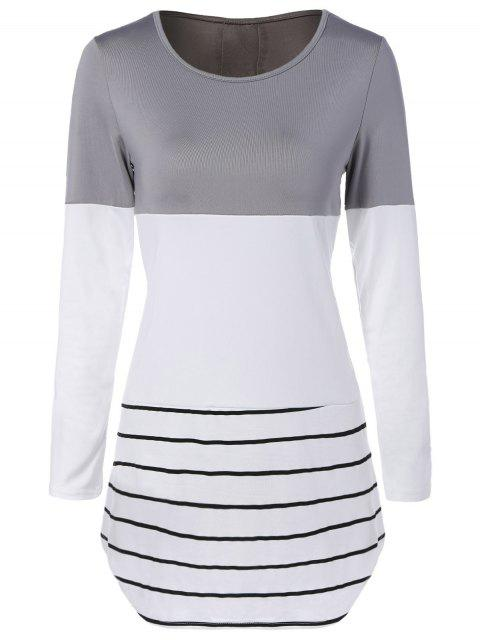 Longue Color Block T-shirt - Gris M Mobile