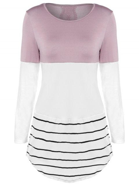 Longue Color Block T-shirt - Kaki L Mobile