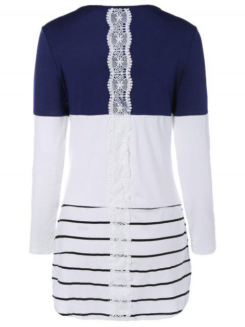 women Long Color Block T-Shirt - BLUE S Mobile