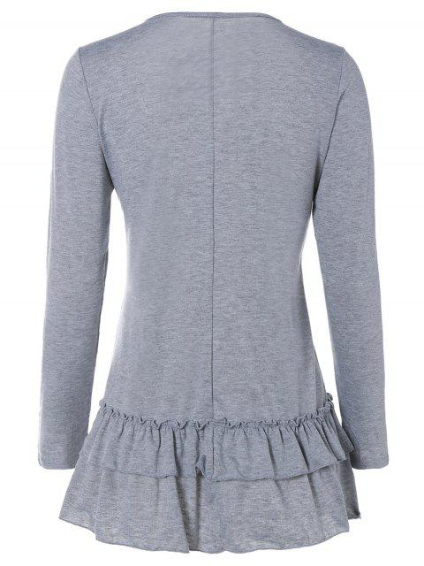 outfit Ruffles Long Sleeve Tee - LIGHT GRAY S Mobile