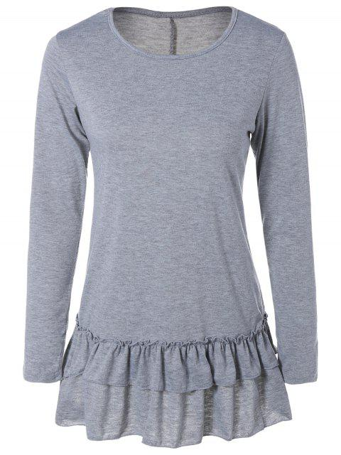 Ruffles manches longues Tee - Gris Clair M Mobile