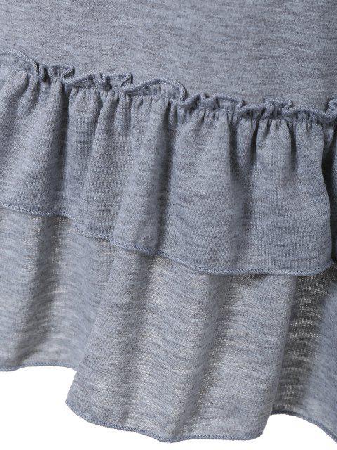 Ruffles manches longues Tee - Gris Clair XL Mobile