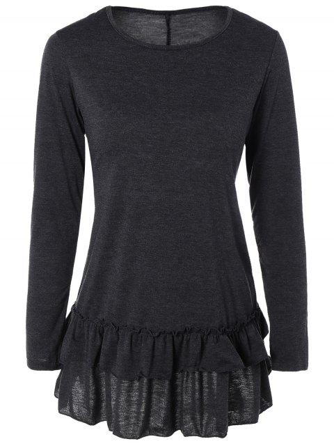 latest Ruffles Long Sleeve Tee - DEEP GRAY S Mobile