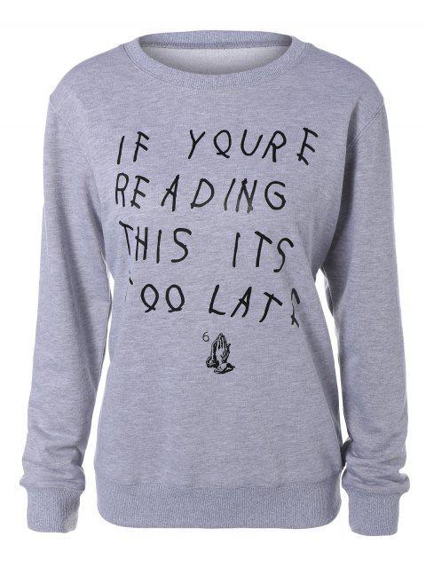 Grafik Buchstabe Lustiges Sweatshirt - Grau S Mobile