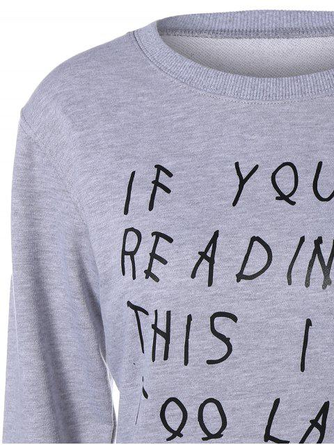 trendy Graphic Letter Funny Sweatshirt - GRAY M Mobile