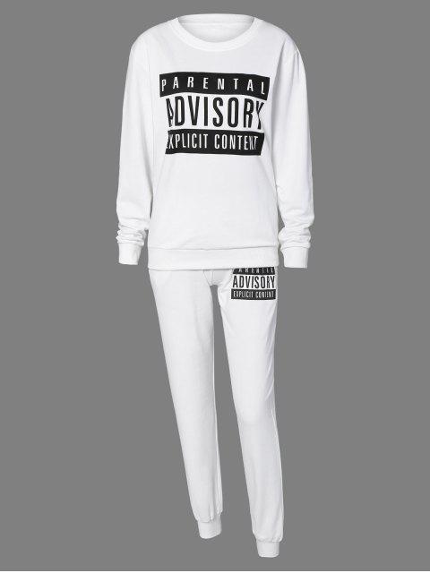 Lettre Sweatshirt et Drawstring sport Pantalons - Blanc S Mobile