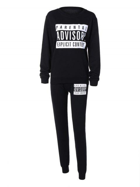 hot Letter Sweatshirt and Drawstring Sports Pants -   Mobile