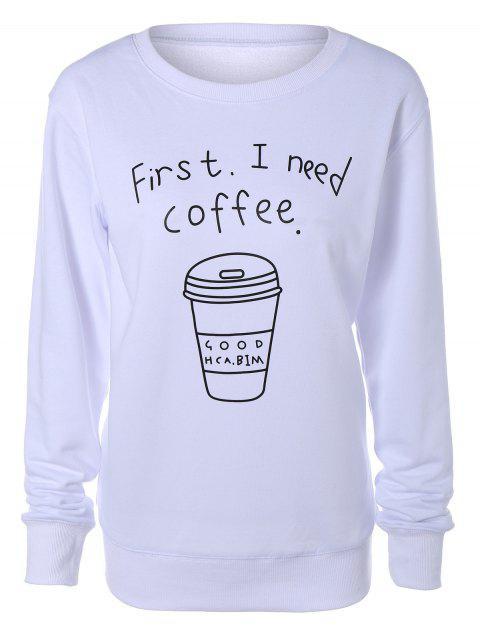 Sweat-shirt Imprimé Lettre et Café - Blanc S Mobile