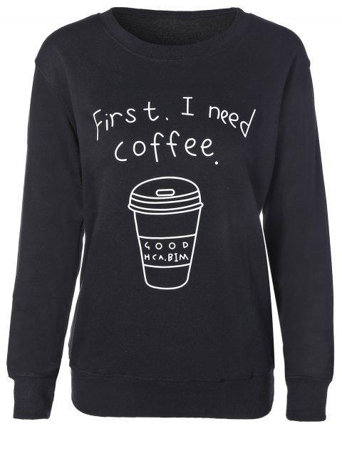 Kaffeetasse-Buchstabe-Sweatshirt - Schwarz S Mobile