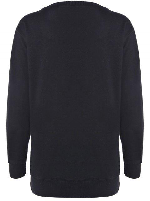 Sweatshirt blanc et casual de pur coton - Noir L Mobile