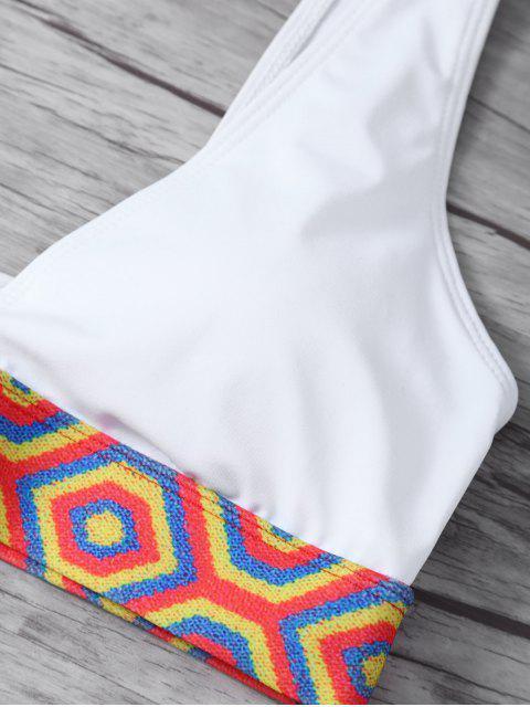 womens Straps Tribal Print Bikini - WHITE L Mobile