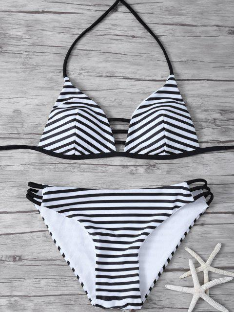 new Stripes Halter Cutout Bikini - WHITE AND BLACK M Mobile