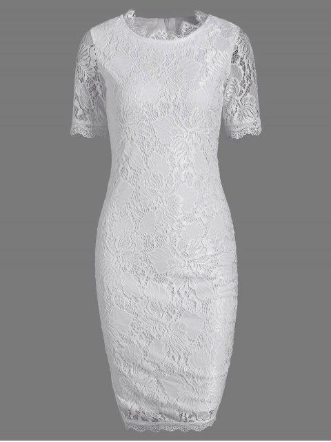 best Lace Short Sleeve Long Sheath Tight Dress - WHITE 2XL Mobile
