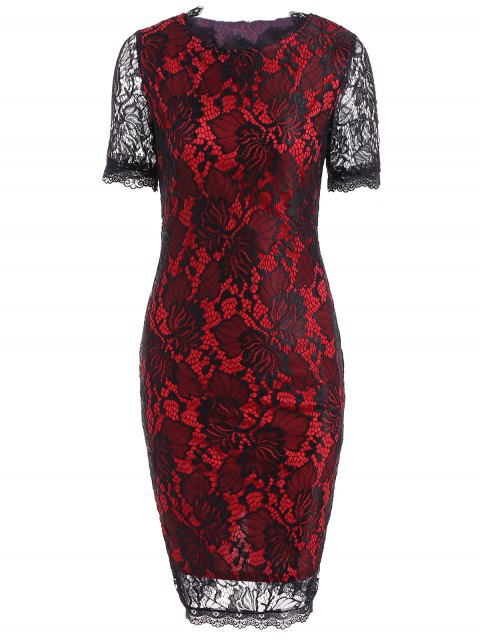 outfits Openwork Lace Pencil Sheath Dress - RED 2XL Mobile