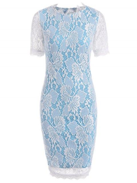 Vestido de vaina de lápiz de encaje a cielo abierto - Azul L Mobile