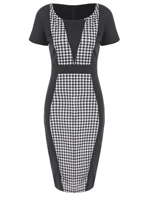 ladies Plaid Sheath Pencil Work Dress - PLAID 2XL Mobile