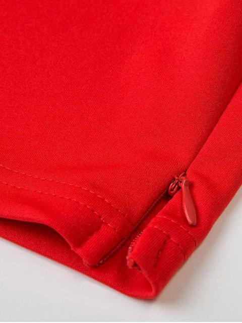 fancy Bell Sleeve Overlay Crop Top - RED L Mobile