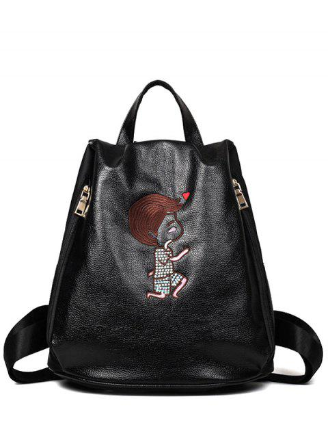 chic Embroidery Zippers PU Leather Backpack - BLACK  Mobile