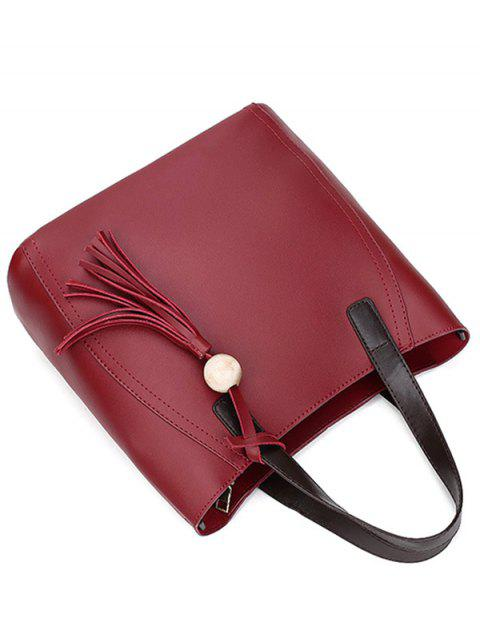womens Colour Spliced Stitching Tassels Tote Bag - WINE RED  Mobile