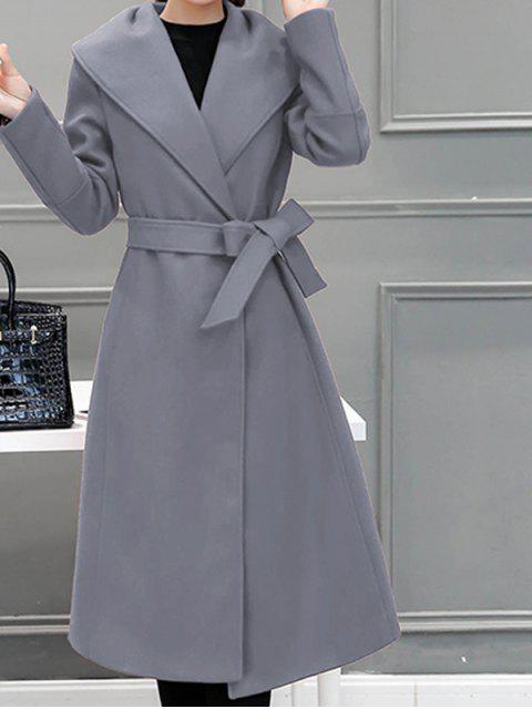sale Wool Blend Maxi Long Wrap Shawl Collar Belted Coat - GRAY 2XL Mobile