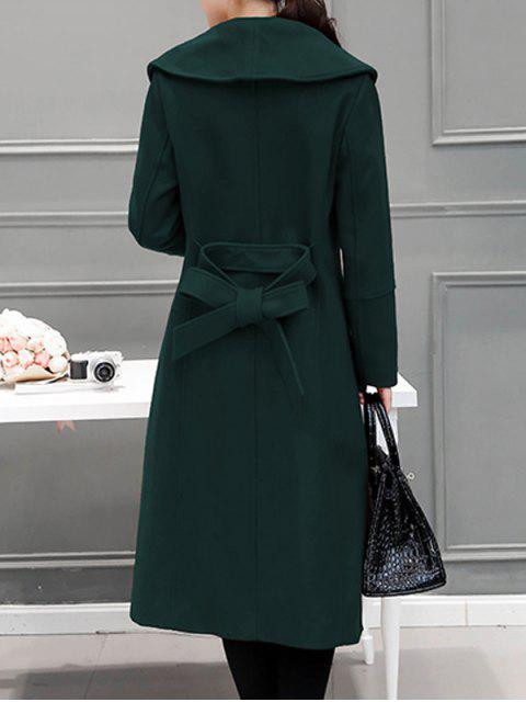 ladies Wool Blend Maxi Long Wrap Shawl Collar Belted Coat - BLACKISH GREEN XL Mobile