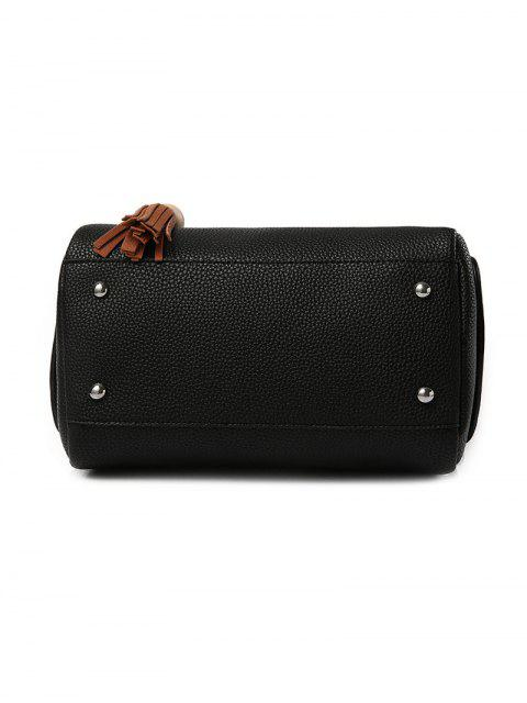 online Tassels Colour Spliced Textured LeatherTote Bag - BLACK  Mobile