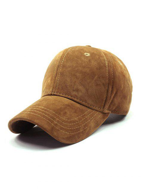 ladies Adjustable Buckle Faux Suede Baseball Hat - GINGER  Mobile