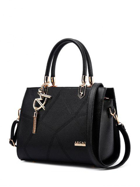 shop Textured Leather Metal Stitching Tote Bag - BLACK  Mobile