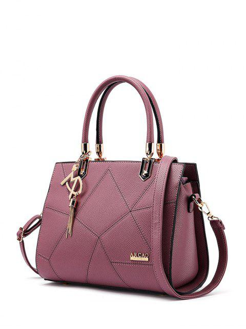 latest Textured Leather Metal Stitching Tote Bag - RED VIOLET  Mobile