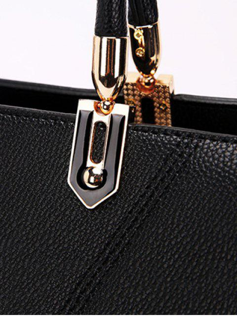 fashion Textured Leather Metal Stitching Tote Bag -   Mobile