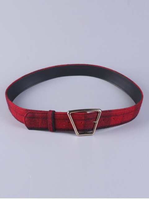 affordable Plaid Trapezoid Buckle Belt - RED  Mobile