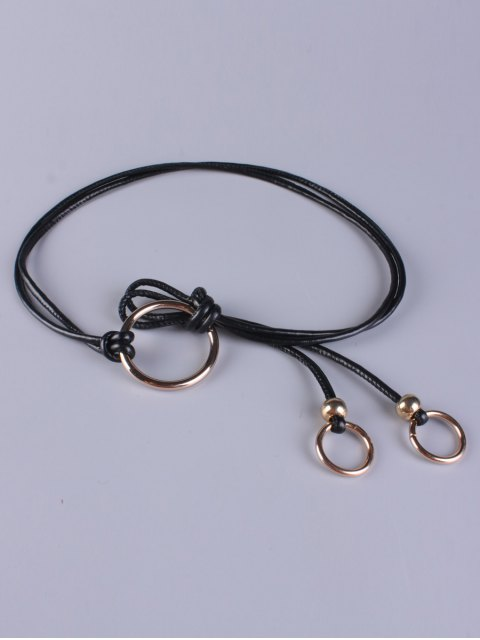 buy Adjustable PU Leather Ring Belt - BLACK  Mobile