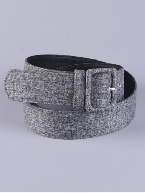 women PU Leather Pin Buckle Belt - GRAY  Mobile
