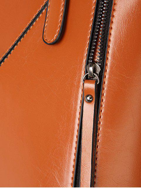 trendy Buckles PU Leather Zippers Tote Bag -   Mobile